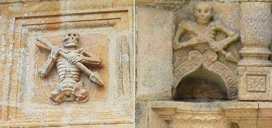 Слева Анку, изображенный на склепе часовни святого Иосифа в Бретани. Справа приход La Roche-Maurice, северо-запад Франции.