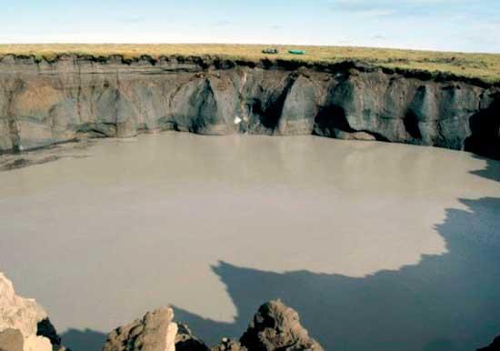 малый кратер вырастает в озеро