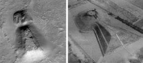 Слева-образование на Марсе. Справа-гробница в Японии