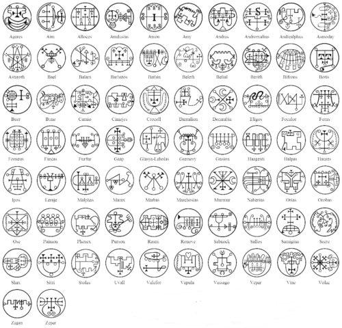 Сигилы, магические печати, демоны царя Соломона - краткое описание 72 демонов, запечатанных Соломоном